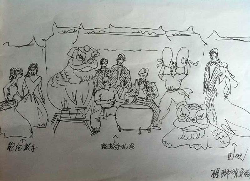 广州建筑手绘线稿